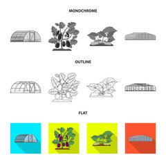 Isolated object of greenhouse and plant icon. Set of greenhouse and garden stock symbol for web.