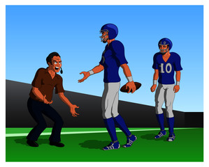 Vector illustration of an angry American football coach yelling at the team.