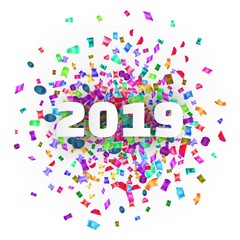 2019 year card with bright colorful confetti on white background.