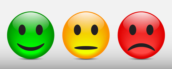 Three colored smilies, set smiley emotion, by smilies, cartoon emoticons - for stock vector