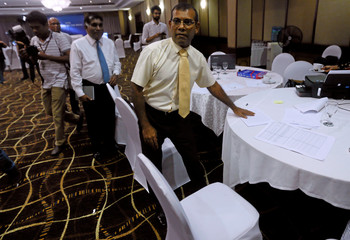 Maldives' former President Nasheed looks on after an interview at a hotel during the Maldivian presidential election day in Colombo