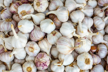 pile of garlic view from the top