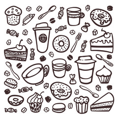 Monochrome Coffee set. Doodle style set of coffee tableware and sweet snacks. Exellent for menu design and cafe decoration. collection of coffee tableware and snacks. Cartoon style vector illustration