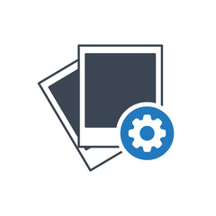 Photo icon, photograph and image, snapshot concept icon with settings sign. Photo icon and customize, setup, manage, process symbol
