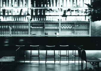 Interior of a modern pub or bar at night