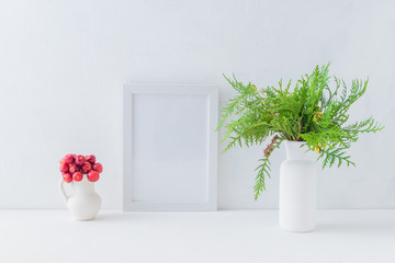 Mockup white frame and christmas branches