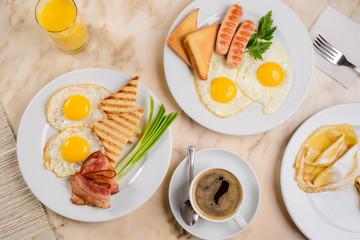 Eggs, coffee and dessert