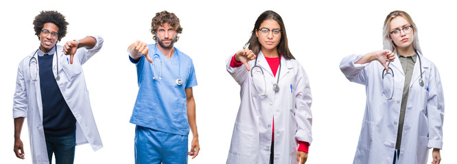 Collage of group of doctor, nurse, surgeon people over isolated background looking unhappy and angry showing rejection and negative with thumbs down gesture. Bad expression.