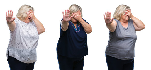 Collage of senior fat woman over isolated background covering eyes with hands and doing stop gesture with sad and fear expression. Embarrassed and negative concept.