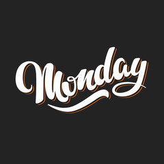 Monday. Hand Drawn Lettering Style.