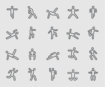 Line icons set for Body exercise