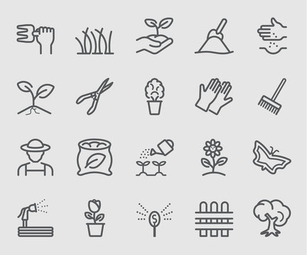 Line icons set for Garden