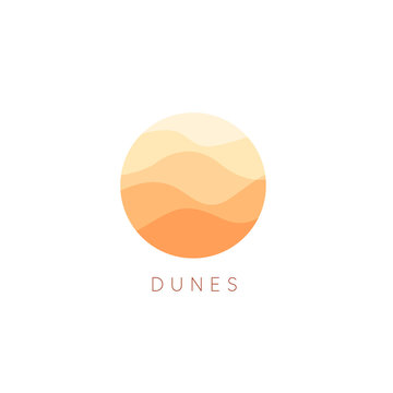 Sand dunes vector icon. Desert landscape logo template. Abstract round flat style logotype.
