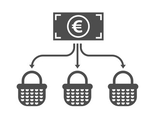 Allocation business icon. Diversification money concept. Financial investment illustration. Euro banknote with arrows and baskets.