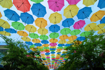 Hanging Umbrellas above the walkway in Coral Gable, Florida