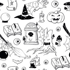 Halloween black and white doodle image set. Seamless halloween pattern. Vector hand drawn objects: zombie hand,  bat, potion, eyeball, scroll, crystal ball, magic book, broom, tombstone, scary tree.