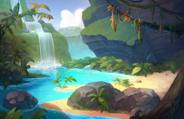 Waterfall Game Background