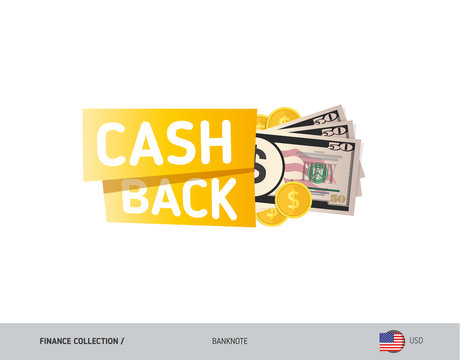 Cash back banner with 50 US Dollar Banknotes and coins. Flat style vector illustration. Shopping and sales concept.