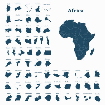 African continent and all countries of Africa. Vector