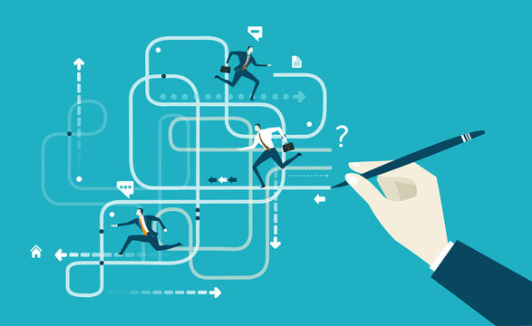 Manager hand drawing the concept of business progressing. Deputy managers on the run to put it in life. Business concept illustration