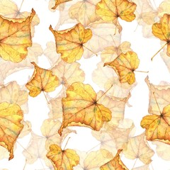 Autumn foliage 8. Seamless watercolor pattern. Hand-drawing