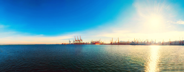 Panorama of the sea port. Cranes and ships. Bulk carrier ship in the port on loading.
