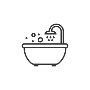 Bath shower icon in flat style. Bathroom hygiene vector illustration on white isolated background. Bath spa business concept.