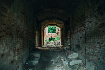 Inside ruined, abandoned ancient brick aged castle building overgrown with grass and plants