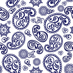 Oriental seamless paisley pattern. Floral wallpaper. Decorative ornament for fabric, textile, wrapping paper. Indigo traditional paisley pattern.