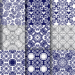 Collection of oriental seamless ornaments in indigo color