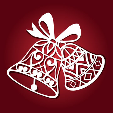 Laser cut paper christmas bell . Christmas bell for wood carving, paper cutting and christmas decorations.