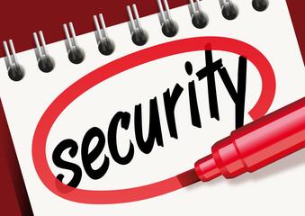 Le mot security écrit sur un carnet avec un marqueur rouge pour une présentation