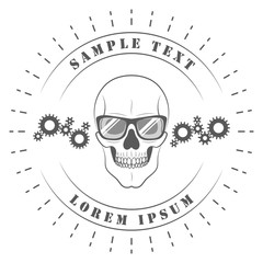Logo. Skull in glasses. On white background for your design. Gears, nuts. Car service, workshop. 10 eps