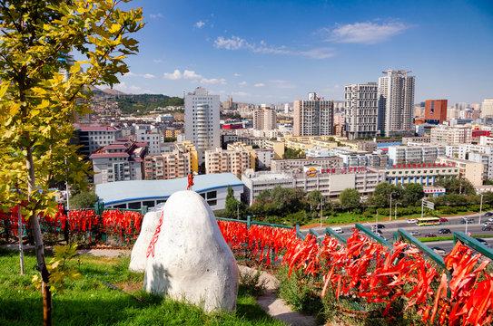 Urumqi cityscape as seen from Hong Shan hill Xinjiang China