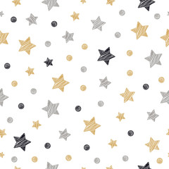 christmas stars dots seamless pattern scribble drawing isolated background