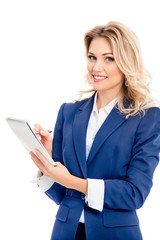 Young businesswoman with clipboard writing, isolated