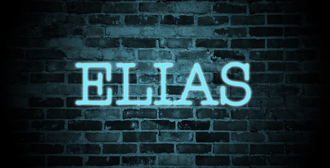 first name Elias in blue neon on brick wall