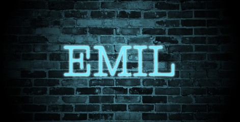 first name Emil in blue neon on brick wall