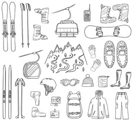 Set of ski and snowboard hand-drawn icons isolated on white background. Doodle sport clothes, accessories and equipment. Black and white sketched vector illustration