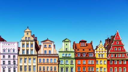 Photo on textile frame European Famous Place Old color houses in Wroclaw, Poland