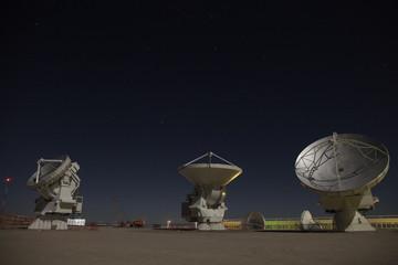 ALMA radio Antennas at Night