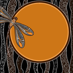 Aboriginal art vector banner background with dragonfly.