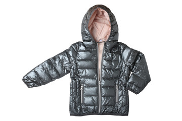 Children's jacket isolated. Fashionable silver gray warm down jacket isolated on a white background. Childrens wear.