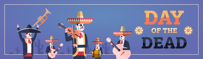 day of dead traditional mexican halloween dia de los muertos holiday party decoration men wearing skeleton masks playing musical instruments horizontal banner invitation greeting card flat vector