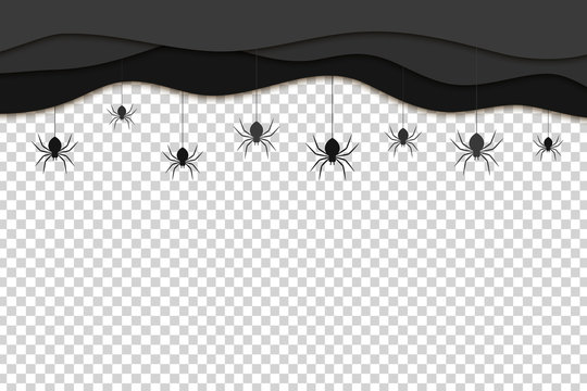 Vector realistic isolated black paper cut layers with hanging spiders for decoration and covering on the transparent background. Creepy background for Halloween.