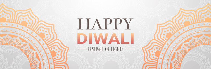 happy diwali traditional indian lights hindu festival celebration holiday concept flat greeting card template invitation horizontal banner copy space vector illustration
