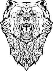 angry bear. Isolated. Coloring page.