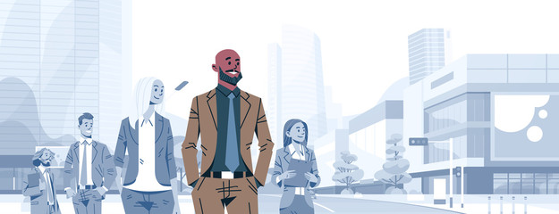 bald head businessman team leader boss stand out business people group individual leadership concept male cartoon character portrait cityscape background horizontal banner flat vector illustration