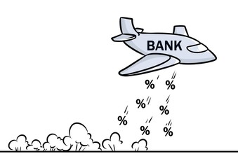 Aircraft bank metaphor hit percent cartoon illustration isolated image