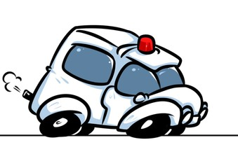 Ambulance car emergency call cartoon illustration isolated image